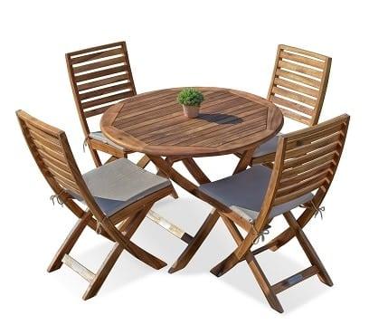 שולחן איזי עגול בשילוב כיסאות מתקפלים