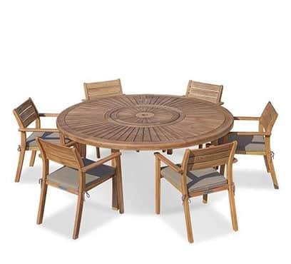 שולחן סאן עגול 180 קוטר בשילוב 6 יורק