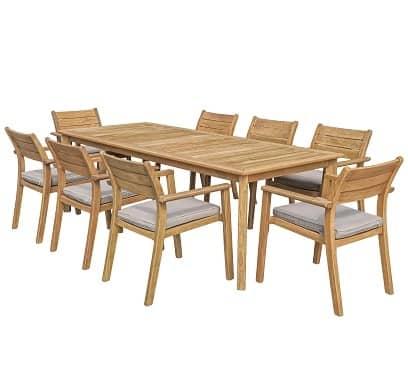 """שולחן המפטון 276X100 ס""""מ + 6 כיסאות יורק"""